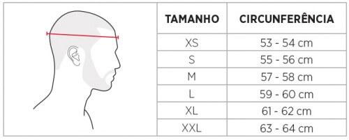 Tabela de medidas capacetes
